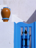 Terracotta Urn  Blue Gate and Whitewashed Walls  Santorini Island  Southern Aegean  Greece