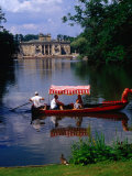 Boating in Lazienki Park with Palace on the Isle Behind  Warsaw  Poland