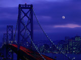 The Bay Bridge with a Full Moon and City Skyline  San Francisco  California  USA