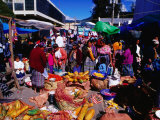 Crowds Shopping on Market Day  Totonicapan  Guatemala