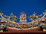 Taoist Roof Ornaments on Szutsao Temple  Tainan  Taiwan