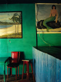 Interior of Bar with Mermaid Mural  Tela  Honduras