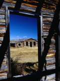 Hut Framed by Window of Burnt Log Cabin  Wind River Country  Lander  USA