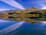 Hilly Countryside and Sky Mirrored in Lake Hayes  Near Arrowtown  Queenstown  Otago  New Zealand