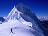 Climber on Summit Ridge of Nevadao Quitaraju  Cordillera Blanca  Ancash  Peru