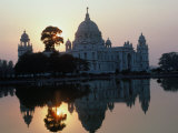 Victoria Monument Reflected in River  Kolkata  India