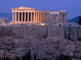 Parthenon and Acropolis from Filopappou Hill  Athens  Greece
