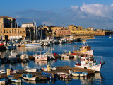 Fishing Boats Moored in Harbour Hania  Crete  Greece