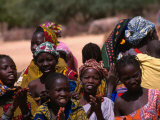 Local Village Children Colourfully Attired on Niger River  Mali