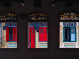 Row of House Windows on Lorong  Geylang  Singapore  Singapore