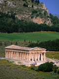 Ancient Doric Temple in Front of Mountain  Segesta  Sicily  Italy