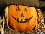 Halloween Face on Scarecrow  Rockies Region Creston  British Columbia  Canada