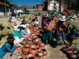 Traders Selling Hand Crafted Pottery at Market in San Pedro Village  Cuzco  Peru