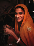 Portrait of Woman Working in Carpet Factory  Jaipur  Rajasthan  India