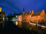 Dijver Lit Up at Dusk with St Saviour Cathedral in Background  Bruges  West-Vlaanderen  Belgium