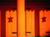Lantern Shadows on an Orange Wall of the Heian Shrine  Kyoto  Kinki  Japan 