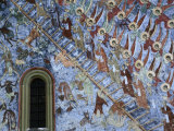 "Detail of Fresco ""Ladder of St John"" on Northern Wall of Sucevita Monastery  Sucevita  Romania"