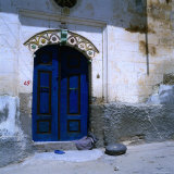 Deep Blue Door in the Village of Mustafapasa  Cappadocia  Nevsehir  Turkey
