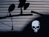 Graffiti and Shadows of Street Lamps on Garage Shutter Door  Tokyo  Japan