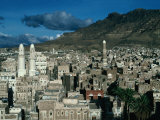 Buildings of Town with Mountain Behind  San'a  Yemen