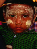 Boy with Paste of Thanakha Tree Bark on Face  Looking at Camera  Myanmar (Burma)