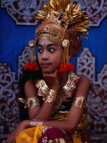 A Situ Dancer Relaxes on Temple Steps in Singapadu  Sampalan  Indonesia