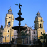 The San Francisco Monastery and Bronze Statue on Plaza De Armas in Lima  Peru