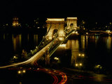 Chain Bridge Over the Danube River  Budapest  Hungary