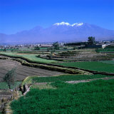 Terraced Fields at Arequipa with the Distant Volcano Chachani (The Beloved)  Arequipa  Peru