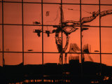 Reflection of Crane on Window  Calgary  Canada