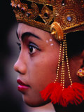 A Young Rejang Dancer Waits in Line for Her Turn to Dance Pendet  Indonesia