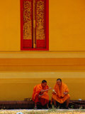 Two Monks Talking  Vientiane  Laos