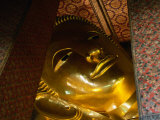 Face of Largest Reclining Buddha in Thailand  Wat Pho  Bangkok  Thailand