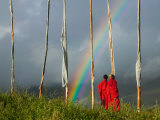 Rainbow and Monks with Praying Flags  Phobjikha Valley  Gangtey Village  Bhutan