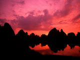 Sunset on Limestone Mountains in Guilin  China