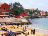 Boats and Beachgoers on the Beaches of Dakar  Senegal