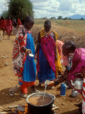Maasai Women Cooking for Wedding Feast  Amboseli  Kenya