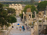 Overlook of Library with Tourists  Ephesus  Turkey