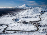 Bruce Road up Mt Ruapehu  and Mt Ngauruhoe  Tongariro National Park  North Island  New Zealand
