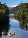 Kayaks  Moeraki River by Lake Moeraki  West Coast  South Island  New Zealand