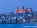 View with Duomo from Beach  Cefalu  Sicily  Italy