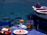 Seaside Table with Salad  Taramosalata  and Glass of Retsina Wine  Loutro  South Crete  Greece