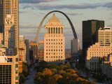Downtown and Gateway Arch from the West at Sunset  St Louis  Missouri  USA