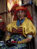 Old Woman with Pipe in Hand-Stitched Molas  Kuna Indian  San Blas Islands  Panama