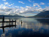 Morning on Lake Atitlan with Toliman Volcano  Panajachel  Solola  Western Highlands  Guatemala