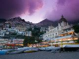 Santa Maria Assunta Church  Spiaggia Grande at Sunset  Positano  Amalfi Coast  Campania  Italy