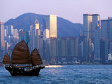Junk Sailing in Hong Kong Harbor  Hong Kong  China