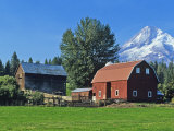 Red Barn in the Hood Valley  Mt Hood  Oregon  USA