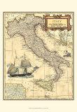 Carte d'Italie Reproduction d'art