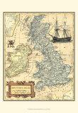 Carte des îles britanniques Reproduction d'art